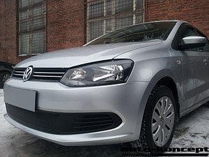 Защита радиатора Volkswagen Polo седан 2010-2014 black PREMIUM