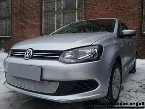 Защита радиатора Volkswagen Polo седан 2010-2014 chrome PREMIUM