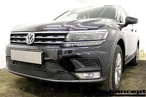 Защита радиатора Volkswagen Tiguan II 2016- black верх PREMIUM