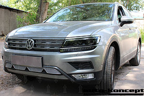 Защита радиатора Volkswagen Tiguan II 2016- chrome низ (Off-Road) с камерой PREMIUM