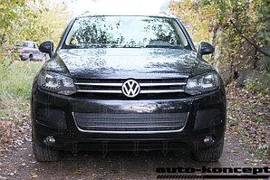 Защита радиатора Volkswagen Touareg II 2010-2014 центральная black PREMIUM