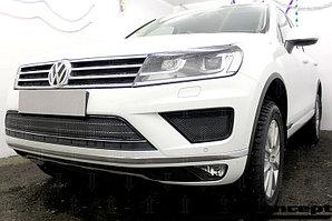 Защита радиатора Volkswagen Touareg II 2014- центральная black PREMIUM