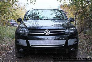 Защита радиатора Volkswagen Touareg II 2010-2014 центральная chrome PREMIUM
