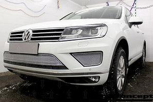 Защита радиатора Volkswagen Touareg II 2014- центральная chrome PREMIUM