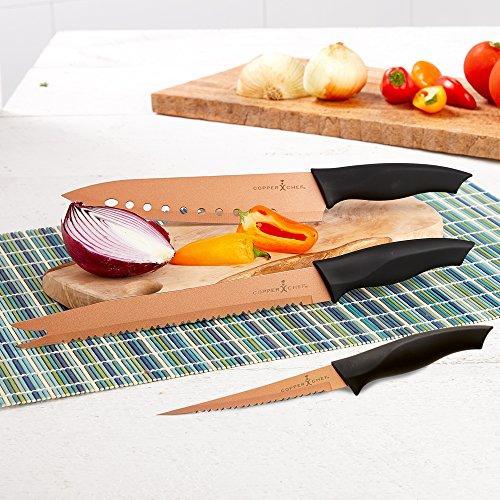 3 ножа с антиналипающим покрытием copper chef