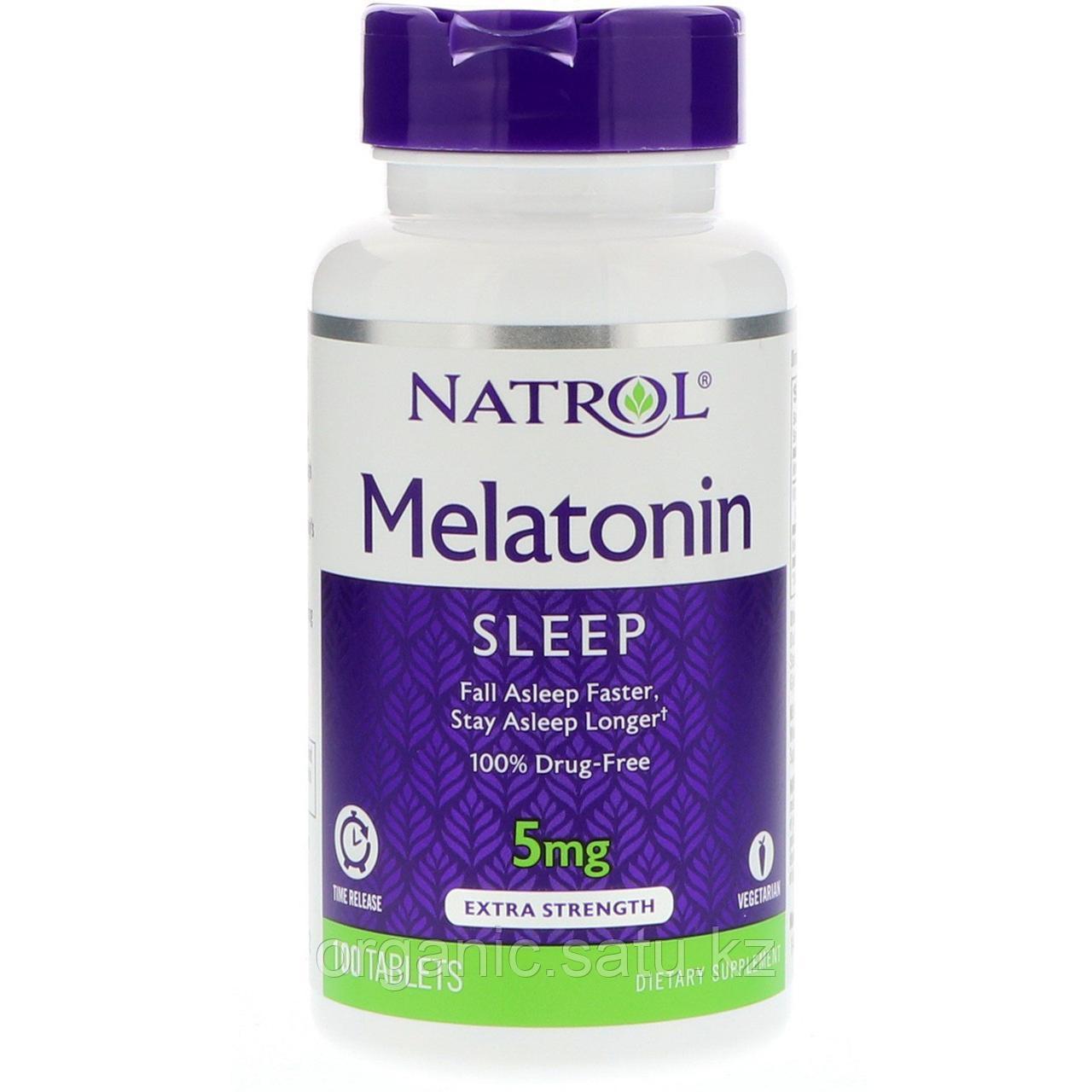 Мелатонин 5 мг. Natrol. С витамином B-6. 100 таблеток