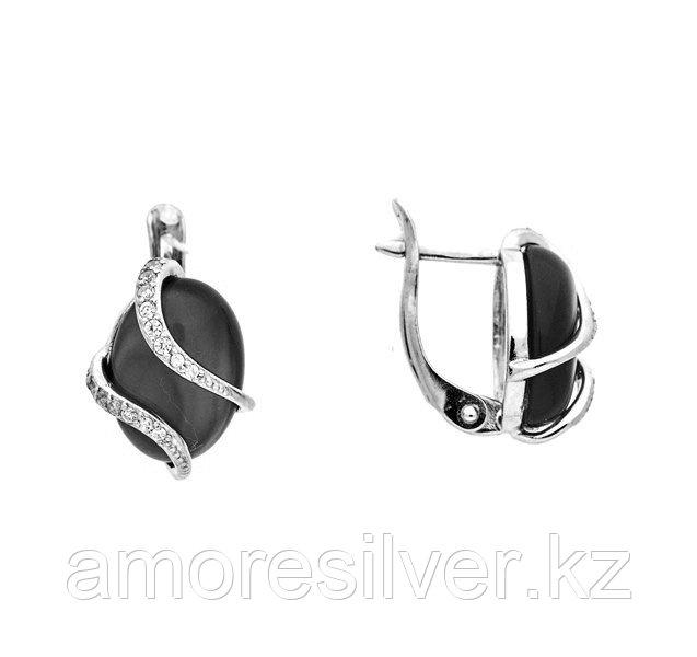 Серебряные серьги с ониксом черным и хризопразом   Приволжский Ювелир 351208