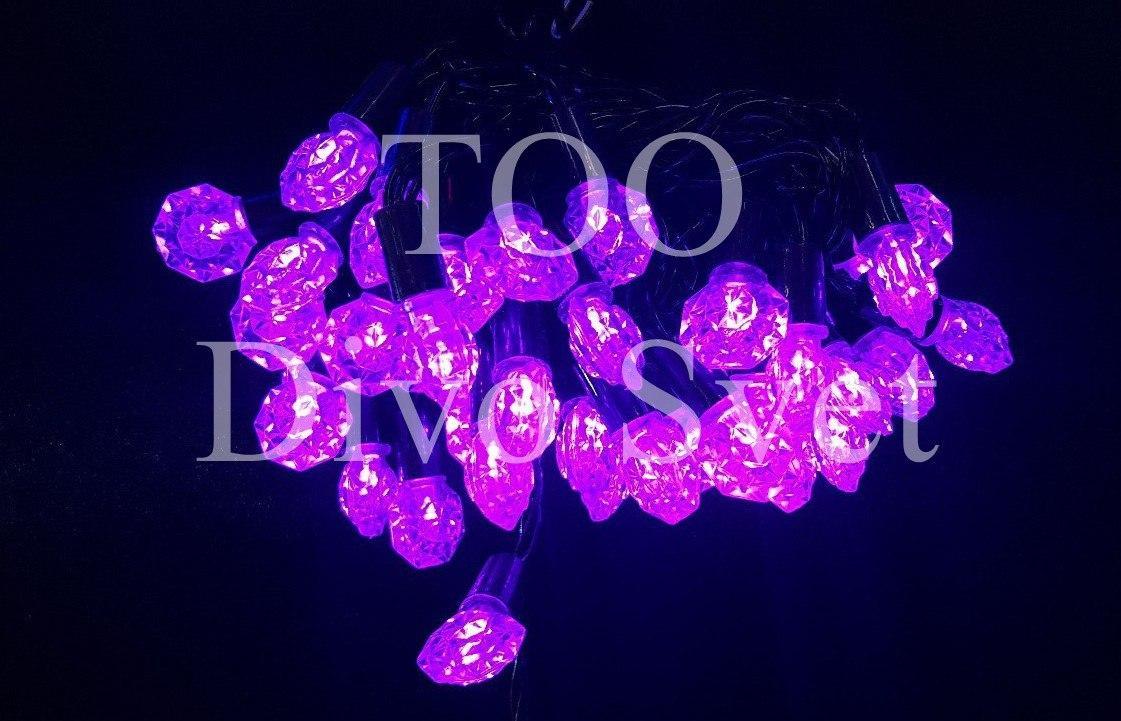 """Led гирлянда нить декор"""" Фиолетовые Брюлики"""" 8 м, черный провод, мигают, не соединяются"""
