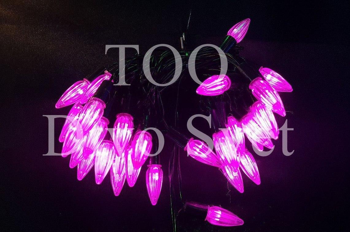 """Новогодняя гирлянда нить декор"""" Розовые Огоньки"""" 8м, черный провод, мигает, не соединяется."""