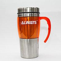 Термос-стакан, колба из нержавеющей стали, 450 мл, оранжевый
