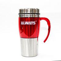 Термос-стакан, колба из нержавеющей стали, 450 мл, красный
