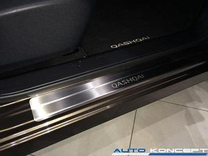 Накладки на пороги нерж.сталь  Nissan Qashqai J10 2010-2014 (комплект 4шт.)