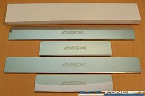 Накладки на пороги нерж.сталь  Mitsubishi ASX 2010- (комплект 4шт.)