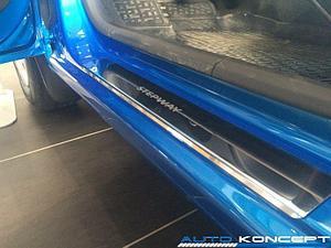 Накладки на пороги нерж.сталь  Renault Sandero Stepway 2010-2014 (комплект 4шт.)