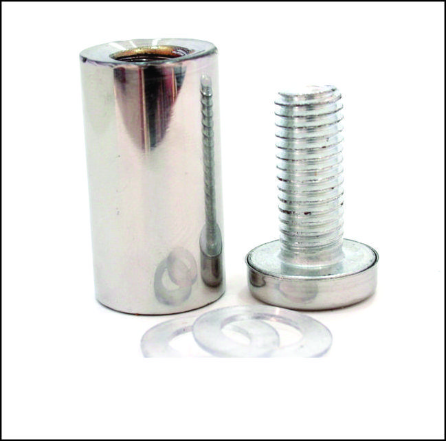 Дистанционный держатель 19х40 мм серебро глянец
