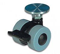 Ножка на колесиках для стеклянной мебели с фиксатором положения. Для УФ - склеивания.