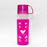 Эко бутылка для воды со стаканом, 0,5 л, розовая