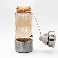 Эко бутылка для воды с поилкой, стаканом, 0,5 л, бежевая