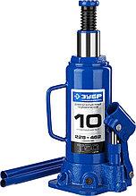 Домкрат гидравлический бутылочный T50, 10т, 228-462мм, ЗУБР Профессионал 43060-10