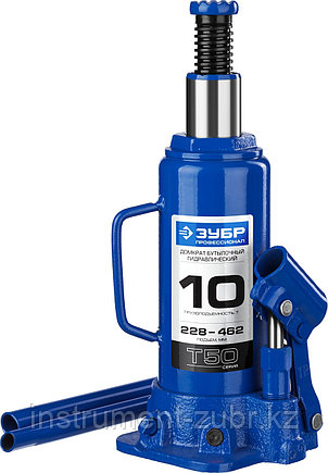 Домкрат гидравлический бутылочный T50, 10т, 228-462мм, ЗУБР Профессионал 43060-10, фото 2