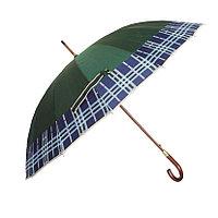 Зонт-трость с деревянной ручкой, полуавтомат, зеленый с кантом