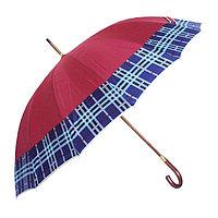Зонт-трость с деревянной ручкой, полуавтомат, красный с кантом
