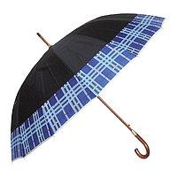 Зонт-трость с деревянной ручкой, полуавтомат, черный с кантом