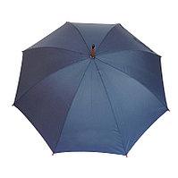Зонт-трость с деревянной ручкой, полуавтомат, синий