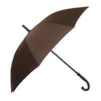 Полуавтоматический зонт-трость с деревянной ручкой, коричневый