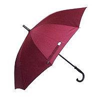 Полуавтоматический зонт-трость с деревянной ручкой, бордовый