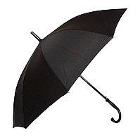 Полуавтоматический зонт-трость с деревянной ручкой, черный