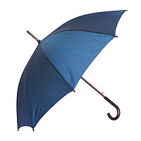 Полуавтоматический зонт-трость с деревянной ручкой, тёмно-синий