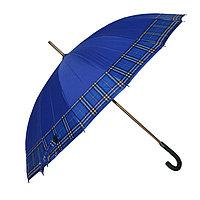 Зонт-трость с деревянной ручкой, полуавтомат, синий с кантом