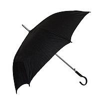 Полуавтоматический зонт-трость с деревянной ручкой, чёрный
