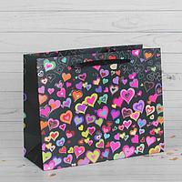 """Пакет подарочный """"Разноцветные сердечки"""", люкс, 45 х 12 х 34 см, фото 1"""