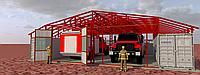 Пожарное депо (усеченная версия) на 2 автомашины марки УРАЛ-5557 с жилыми и рабочими помещениями.