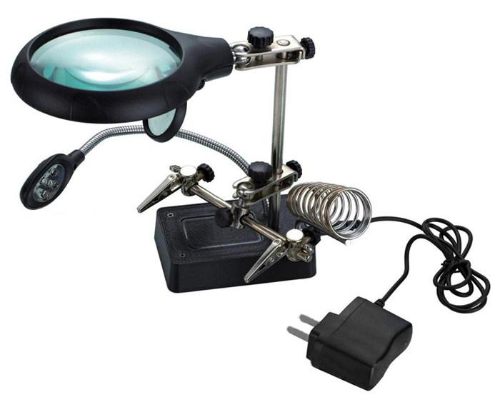 Лупа  настольная 2,5x/7,5x/10x, 34/90 мм, с держателем и подсветкой (5 LED) MG16129-С