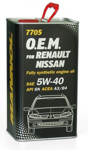 Моторное масло MANNOL O.E.M. for Renault Nissan 5W40 SN/CF 4L METAL
