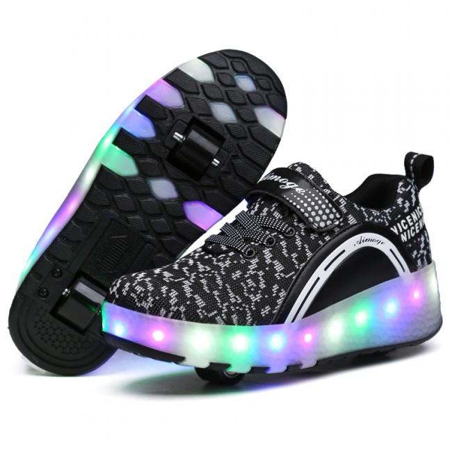 Светящиеся 2 колесные кроссовки ролики черные LED - фото 2