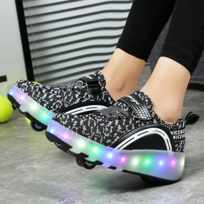 Светящиеся 2 колесные кроссовки ролики черные LED - фото 5