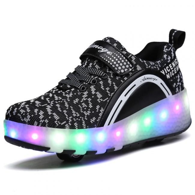 Светящиеся 2 колесные кроссовки ролики черные LED - фото 3