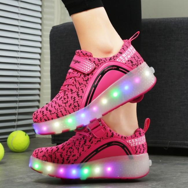 Светящиеся 2 колесные кроссовки ролики розовые LED - фото 5