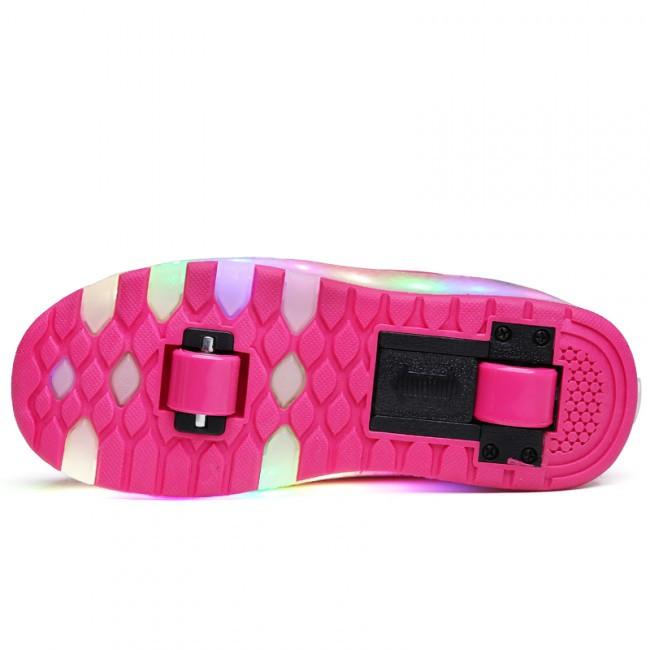 Светящиеся 2 колесные кроссовки ролики розовые LED - фото 7