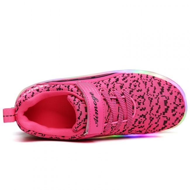 Светящиеся 2 колесные кроссовки ролики розовые LED - фото 2