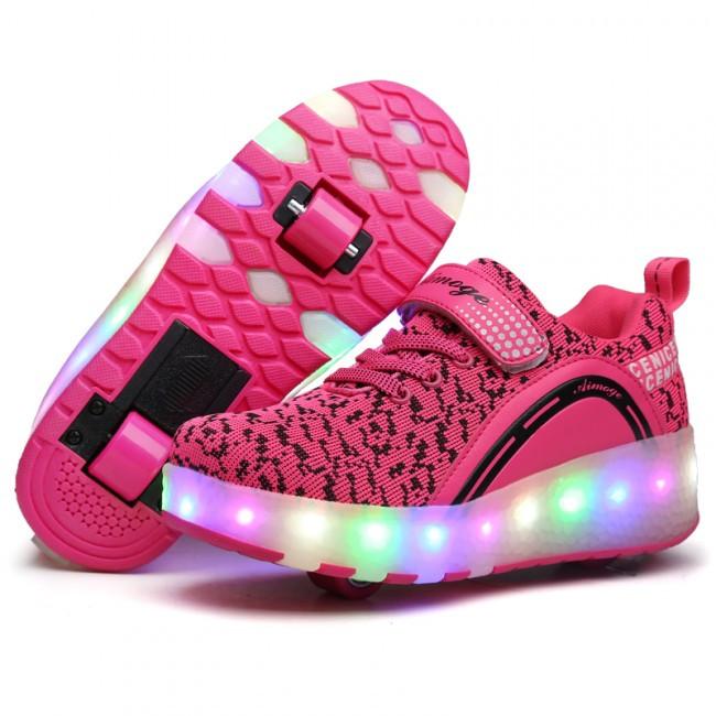 Светящиеся 2 колесные кроссовки ролики розовые LED - фото 6
