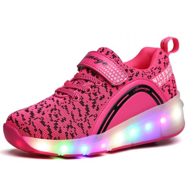 Светящиеся 2 колесные кроссовки ролики розовые LED - фото 4