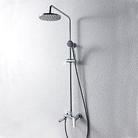 """Душевая колонна со смесителем для ванны/душа (круглая лейка)""""тропический душ"""" Bravat OPAL F6125183CP-A3-RUS"""