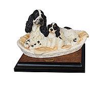Скульптура Кокер-спаниели в корзинке. Ручная работа. Джузеппе Армани. Италия