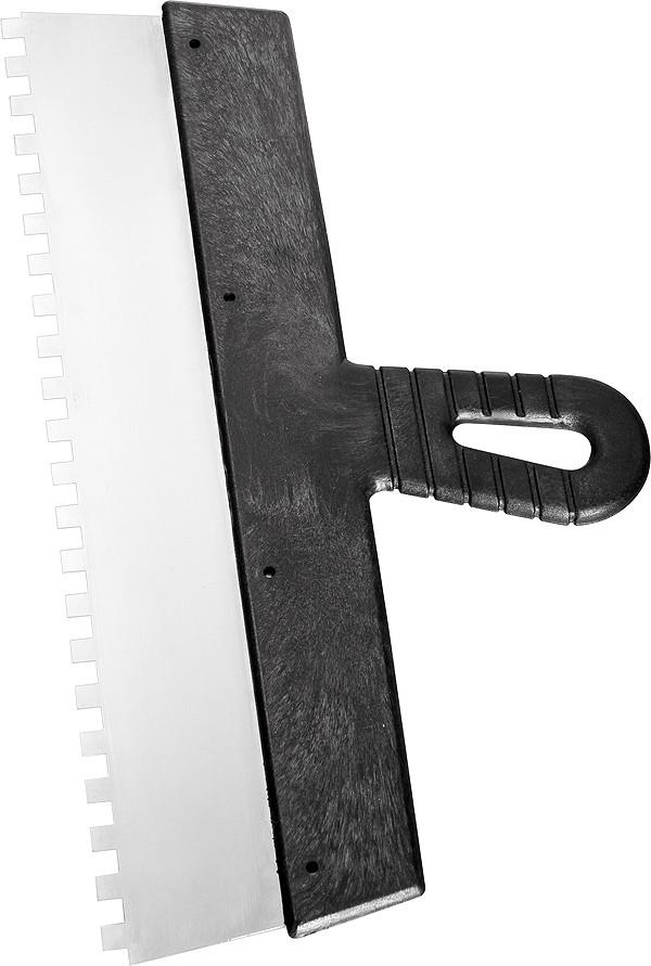 """Шпатель 250 мм зуб 4х4 нержавеющий с пластмассовой ручкой """"СИБРТЕХ"""""""