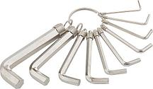 Набор ключей имбусовых HEX, 1,5-10 мм, 10 шт, никелированный, на кольце SPARTA